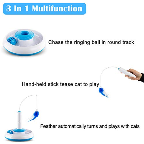 Hollypet Electric Cat Teasing Toy 360 Degree Mute Training Pet Toy Kitten Rotate Feather Interactive Toy 5