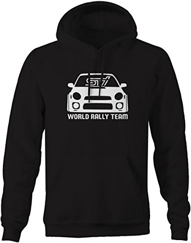 Moon Inc Subie STI World Rally Team Racing Bug Eye Black Hooded Sweatshirt - XLarge (Best 4wd In The World)