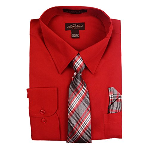 Alberto Danelli Men's Long Sleeve Dress Shirt with Matching Tie and Handkerchief, XLarge / 17-17.5 Neck -35/36 Sleeve, Scarlet