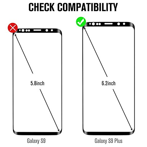 Galaxy S9 Plus Screen Protector Tempered Glass, [Update Version] AUAUI 3D Curved Dot Matrix [Full Screen Coverage] Glass Screen Protector (6.2) 9H Hardness,Anti-Fingerprint,Ultra-Clear, Full Coverage