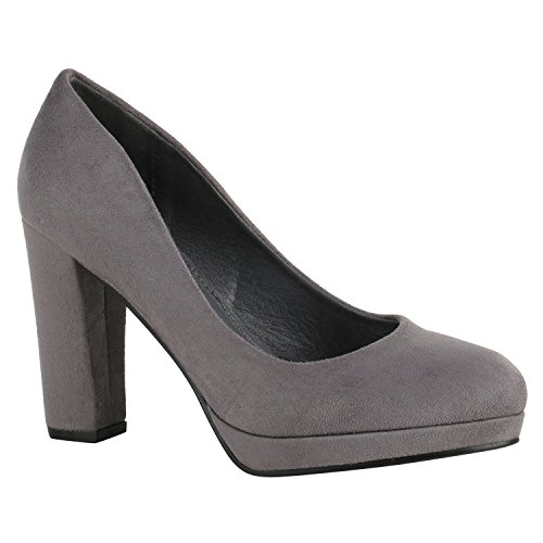 Stiefelparadies Klassische Damen Pumps Lack High Heels Elegante Party Schuhe Strass Blockabsatz Glitzer Damenschuhe Wildleder-Optik Flandell Grau Arriate