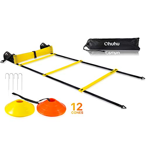Ohuhu Agility Ladder Cones, 12-Rung Speed Ladder 12 Field Cones 4 Stakes | Footwork Training Equipment Soccer Football Team Sports