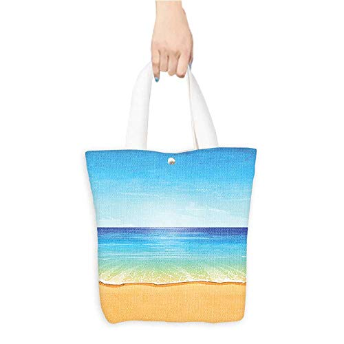 Personalized Pattern Custom Shopping Bag Ocean Decor Paradise Beach with Sand and Sea Water Summer Exotic Coast Nature Sunny Hot Print Cream Turquoise (W15.75 x L17.71 (Best Coast Led Shower Heads)