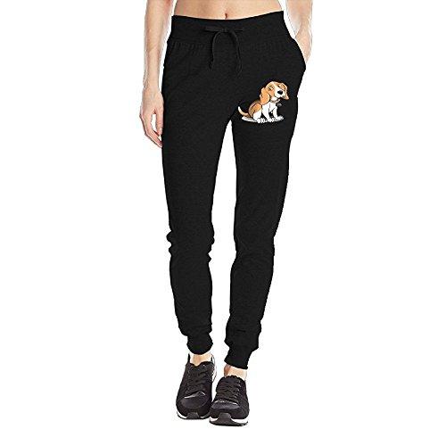 Losport Women's Cute Dog Cotton Joggers Pants Slim Fit Bottoms Jersey Sweatpant With Pockets L Black