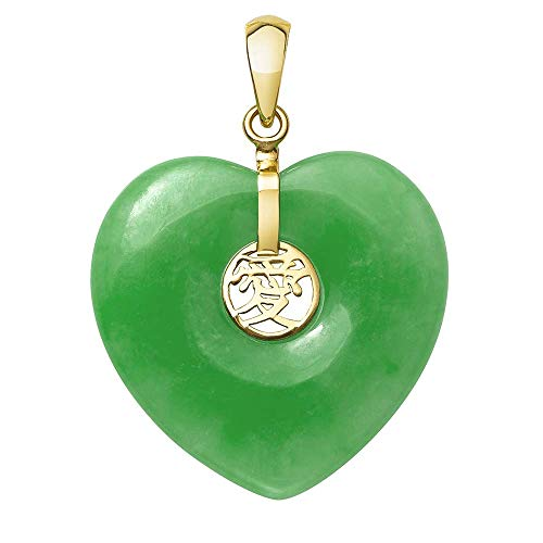 Belacqua 14k Yellow Gold Natural Jade Heart Charm Pendant Necklace, no Chain