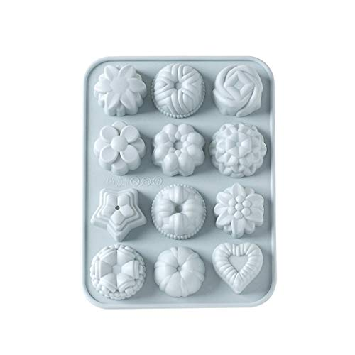 Gotian Silicone 3D Animal Flower Cake Cookie Chocolate Mold Lollipop Mold Baking Tray Durable Mold Use in Oven Microwave Dishwasher Refrigerator (Gray)