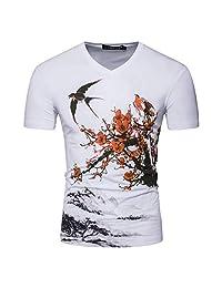 Colmkley Men's Summer Casual Short Sleeve T-Shirt V Neck Slim Printed Shirt Tops