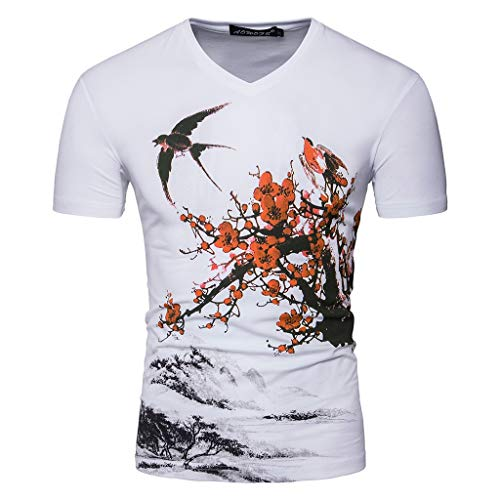 (Men's Casual Short Sleeve T-Shirt V-Neck Print Floral Slim Fit Dry Fit Tops Moisture Wicking Heritage Tees (S-US:S, White))