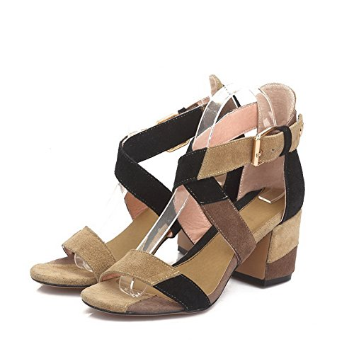 Amoonyfashion Da Donna Imitato In Pelle Scamosciata Open-toe Con Gattina-tallone Fibbia Sandali Assortiti Color Marrone