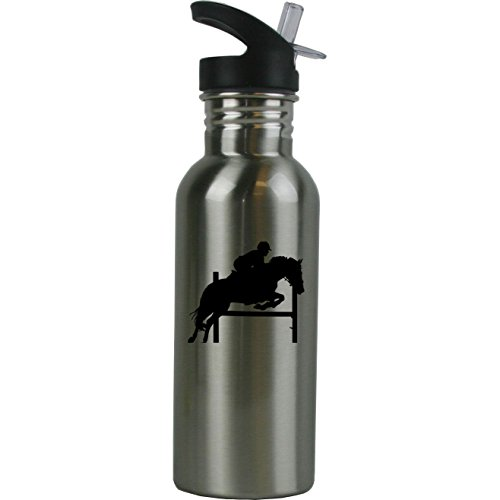 - Personalized Custom Equestrian Horse Jumping Stainless Steel Water Bottle with Straw Top 20 Ounce Sport Water Bottle Customizable