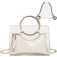 ADKX 2-in-1 Clear Tote Transparent Top Ring Handle Handbag