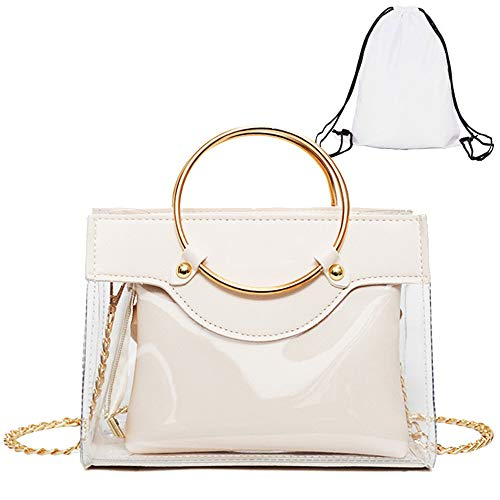 Clear Handbag 2 in 1 Clear Tote Transparent Top Ring Handle Handbag Small Chain Shoulder Bag, White, -