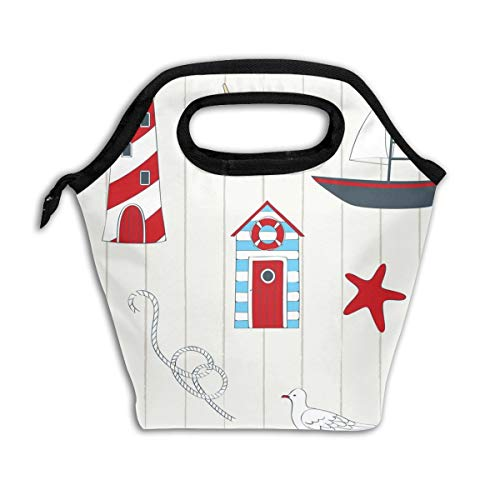 Ocean Style Lighthouse Sailboat Lunch Bags For Kids Women Men Reusable Insulated Thermal 11.5 X 11.5 X 5