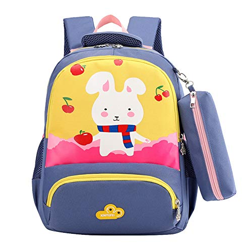 School Backpack for Girls Kids Bookbags Pencil Case Lightweight Student Rucksack 2 Piece (Yellow) ()