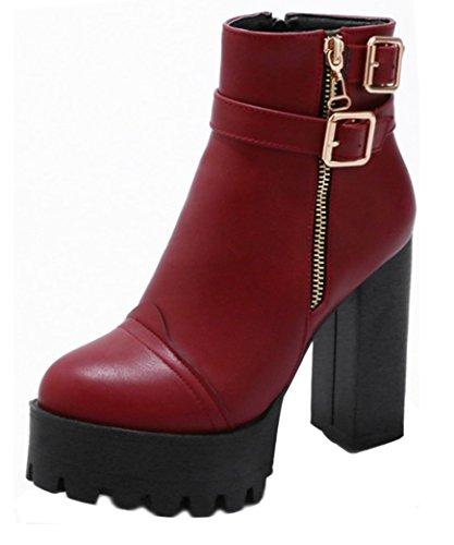 Aisun Damen Kunstleder Riemchen Schnalle Plateau Blockabsatz Reißverschluss Stiefel Rot