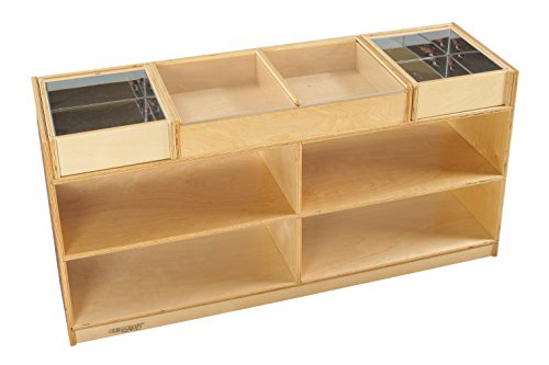 Childcraft 1464159 Science Exploration Table with Mirrored Trays Mobile, Wood, 47-3/4