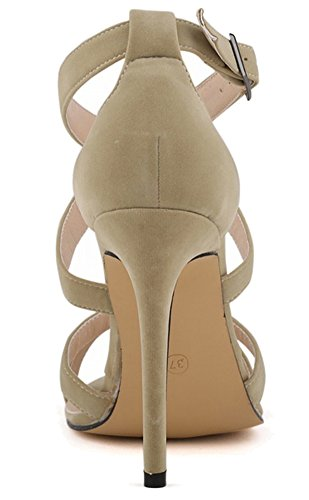 Fangsto Women's Suede Leather Super High-Heeled Ankle Strappy Sandals Buckle Closed Back Shoes Beige