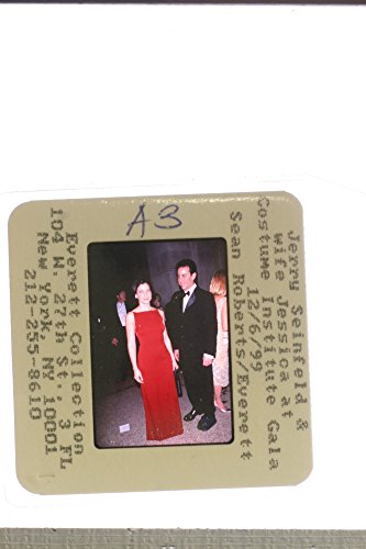 Slides photo of Jerry Seinfeld with his wife, Jessica Seinfeld at Costume Institute Gala, 1999.]()