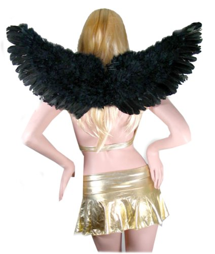 [SACAS Large Black Feather Angel Wings w/ Free Halo for women, men, adults] (Fallen Angels Costumes For Kids)