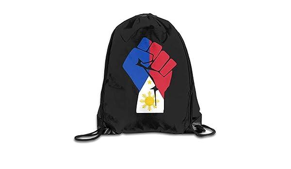Filipino Flag Fist Men /& Women Drawstring Backpack Travel Bag