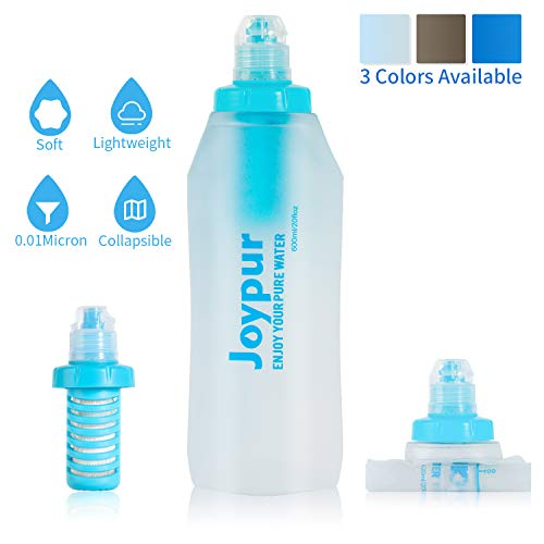 joypur Portable Filtered Water Bottle Camping 2-Stage Integrated Collapsible Water Purifier with Filter for Endurance Sports, Hiking and Backpacking, 20 oz White