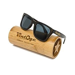 Bamboo Wood Sunglasses for Men & Women - Polarized handmade wooden wayfarer style shades that float!