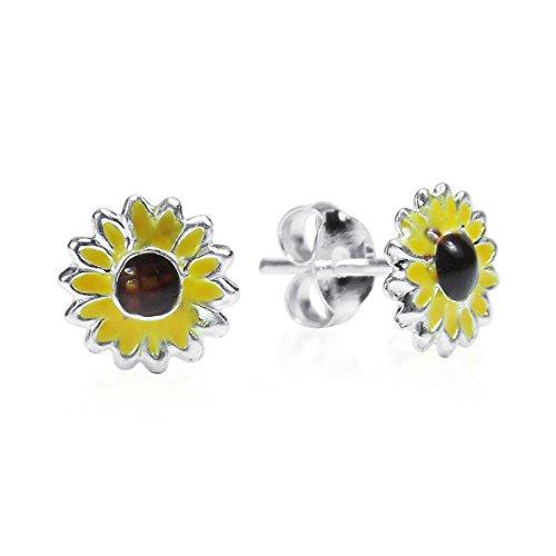 Petite Yellow Enamel Sunflower .925 Sterling Silver Stud Earrings
