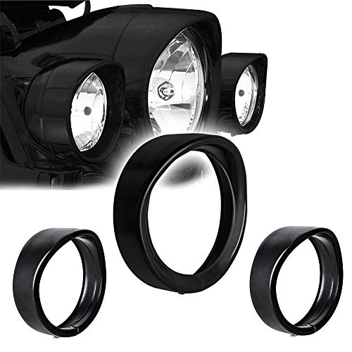 (NTHREEAUTO Motorcycle Lights Headlamp Frenched Ring Kit Compatible with Harley Davidson, 7
