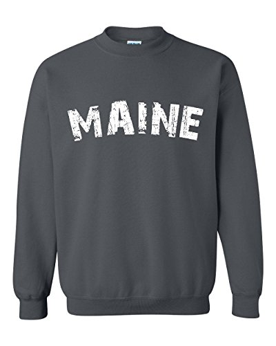 Ugo Maine Map Portland Augusto ME Flag Black Bears Home University of Maine Unisex Crewneck - Maine Portland Outlets