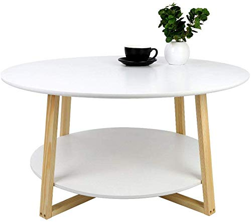 Modern Round Coffee Table, 2 Tier Contemporary Sofa Side End Table Wooden Bedside Table Accent Table with Storage Shelf for Home Living Room Bedroom Office