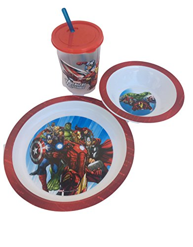 Marvel Avengers Super Hero Inspired Age of the Ultron Kids 3pc BPA Free Mealtime Set! Includes Plate, Bowl & Cup