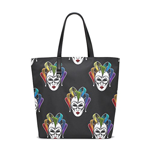 GIOVANIOR Rainbow Venetian Canrnival Mask Beach Tote Bags Travel Shoulder Handbags for Women Girls