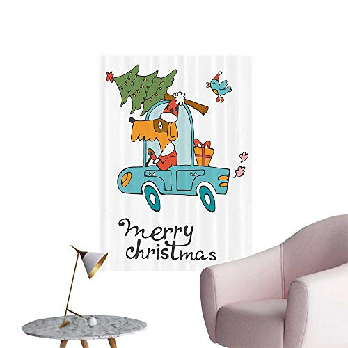 Wall Decoration Wall Stickers Blue Vintage Car Dog Driving with Santa Costume Cute Xmas Bird Tree and Gift Present Print Artwork,20