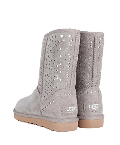 UGG W Classic Short Flora Perf Grey Boots–Botas grises ante con detalles Plateado gris