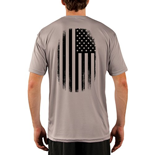 - Dead Or Alive Clothing Men's Black and White American Flag UPF 50+ Short Sleeve T-Shirt X-Large Athletic Grey