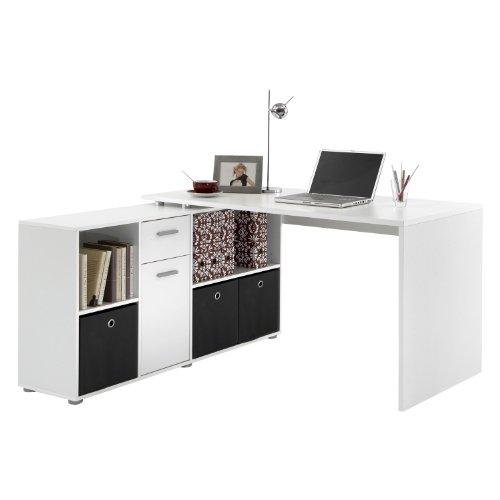 FMD Möbel 353-001 Winkelkombination LEX Tisch circa 136 x 75 x 68 cm, montiert Regal circa 137 x 71 x 33 cm, weiß