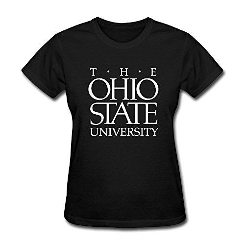 [Handson Women's Ohio State University Columbus Logo Fashion Screw-Neck Tees Size L Black] (Columbus Ohio Halloween)