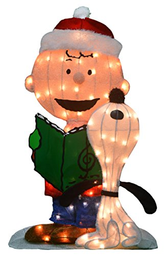 ProductWorks 32-Inch Pre-Lit Peanuts Charlie Brown and Singing Snoopy Christmas Yard Art, 70 Lights