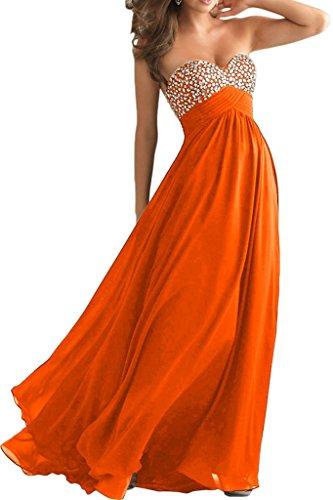 Abendkleider Blau Ballkleider mia Partykleider Lang La Steine A Festlichkleider Abschlussballkleider Herzformig Orange Linie Braut YAAxXw