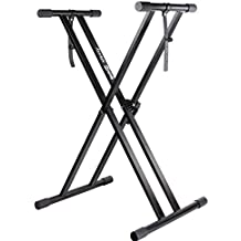 RockJam Xfinity Heavy-Duty, Double-X, Pre-Assembled, Infinitely Adjustable Piano Keyboard Stand with Locking Straps (Renewed)