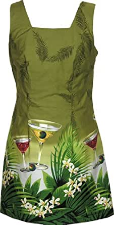 RJC Womens Floating Martini A Line Short Tank Dress in Green - 1X Plus