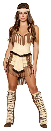 3 Piece Indian Princess Tan Fringe Fur Corset & Shorts Costume -