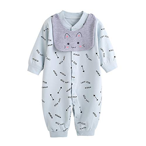 d Girls Romper Onesies Baby Cotton Long Sleeve Jumpsuits Bodysuits Sleepwear Outfits for Newborn,blue,3-6M ()