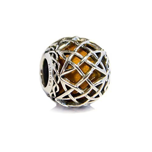 760a1831d Amber Murano Glass & Sterling Silver Irish Celtic Eternal Knot Charm S925, Irish  Celtic Eternal Knot Silver Charm Bead, Orange Yellow Halloween Autumn Charm  ...