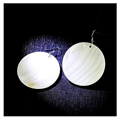 Bueasy Fashion Natural White Sea Round Shell Silver Drop Dangle Earrings for Women Girls -