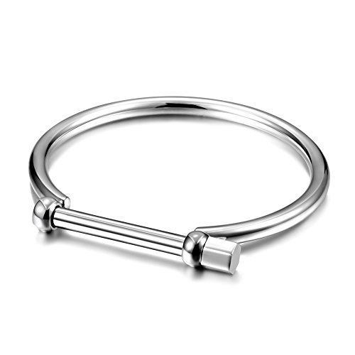 Wistic Gold Cuff Bangle Bracelet Stainless Steel Screw Bar Bracelet for Women Men (Black Male) (Male (Mens White Gold Bangle)
