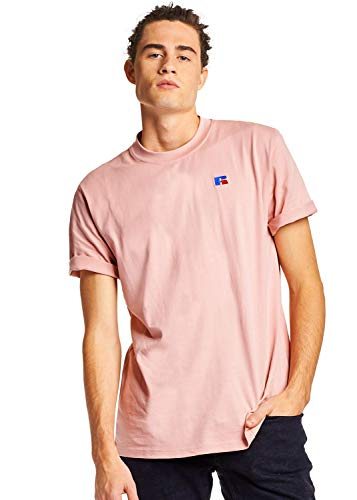 Cotton Heavyweight Tee 100% (Russell Athletic Heritage Men's Baseliner Heavyweight Cotton T-Shirt, Pink, XL)