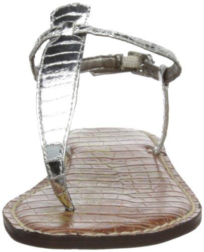 Sam Edelman Gigi, Scarpe con Cinturino alla Caviglia Donna, Argento (Silver Boa), 38.5