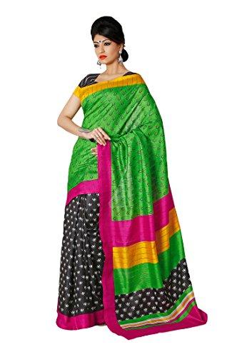 Fabdeal Indian Designer Cotton silk Green Printed Saree