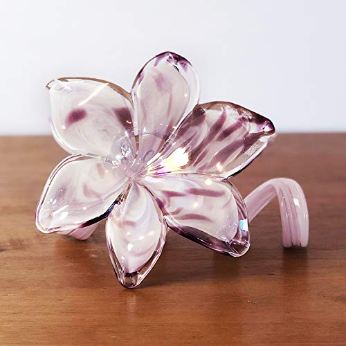 Antico Murano Hand Blown Murano Glass Purple Spiral Flower, Made in - Spiral Flower
